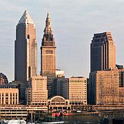 Cleveland skyline in evening light