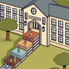 Illustration of Education - Students entering School building