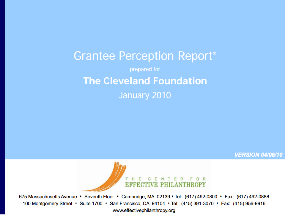 Grantee Perception Report