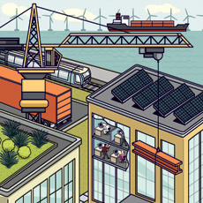 Illustration of Economic Development - Skyscrapers with solar panels and wind power on horizon