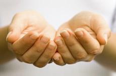 Open, receiving hands