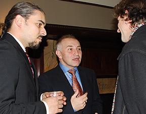 Raymond Bobgan, Ozen Yula, and Cleveland playwright Eric Schmiedl