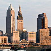 Cleveland skyline in evening light