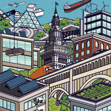 Illustration of Neighborhoods - Cleveland cityscape