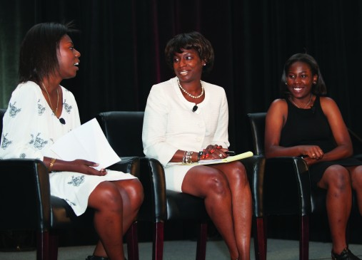 Cleveland Foundation board member Teresa Metcalf Beasley and her two daughters during a 2015 Women of Note panel discussion.