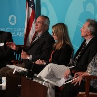 Lev Gonick (second from left) speaking as a panelist at Fred Talks: How to Build a Digital Economy in Cleveland, an event hosted by the Cleveland Foundation last year. Gonick is chief executive officer of DigitalC.