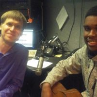 Erik Mann and CCGS student Martez Price during an interview with CBS Radio