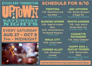 List of musicians performing at Cleveland Foundation Uptown Saturday Nights September 10