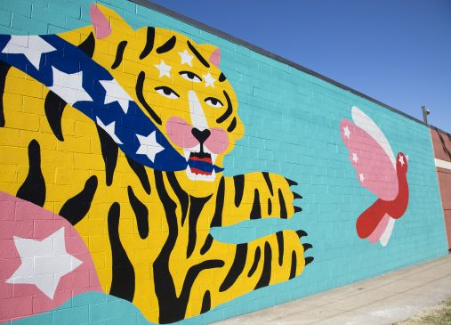 Michela Picchi's mural in progress on W. 28th Street and Detroit Avenue.