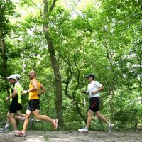 Runners jog on wooded Cleveland Metroparks trail