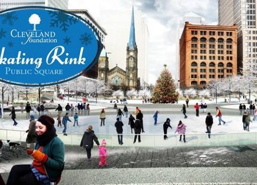 Rendering of people ice skating on Cleveland Public Square