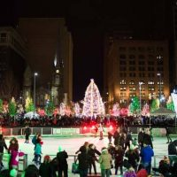 Cleveland Foundation Skating Rink on Public Square at Night