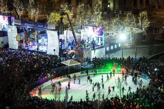 Ariel view of Cleveland Foundation Skating Rink at Public Square