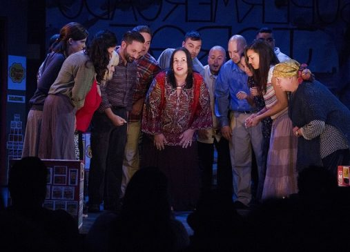 Cleveland Public Theatre cast on stage in Engaging the Future production