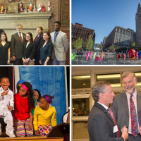 Collage of images includes people and places in Cleveland