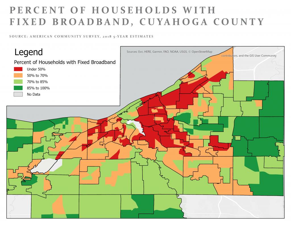 Map of digital access in Northeast Ohio