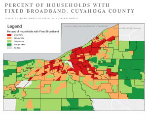 Map showing levels of digital access across Northeast Ohio