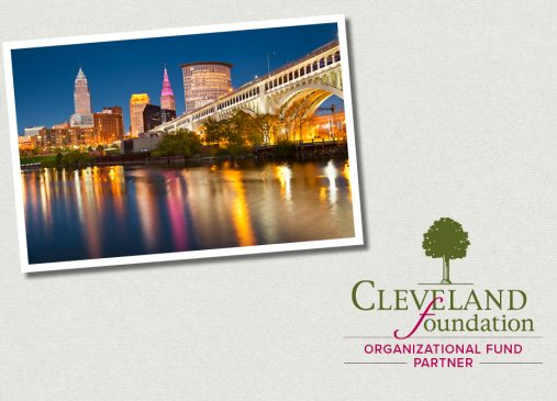 Graphic showing Cleveland skyline at night and Cleveland Foundation Organizational Fund Appreciation Week logo