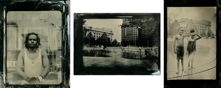Three wet plate images of people on Cleveland Public Square