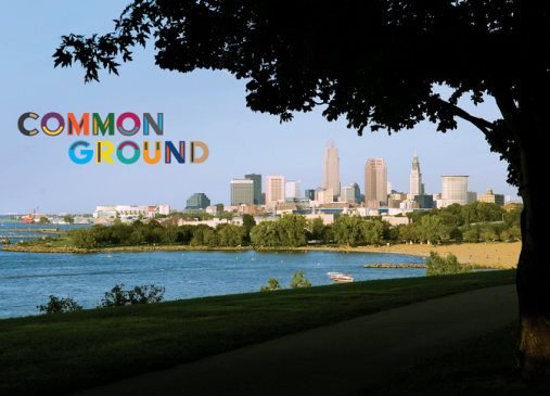 Cleveland skyline with Common Ground logo