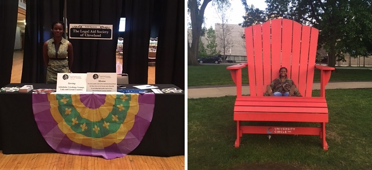 Ebony Kennedy pictured at Legal Aid information table and seated on large red adirondack chair in University Circle