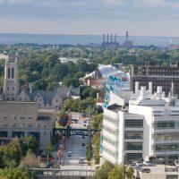 Arial shot of Greater University Circle buildings