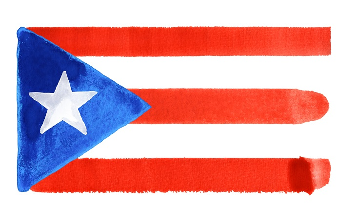 watercolor illustration of the Puerto Rico flag