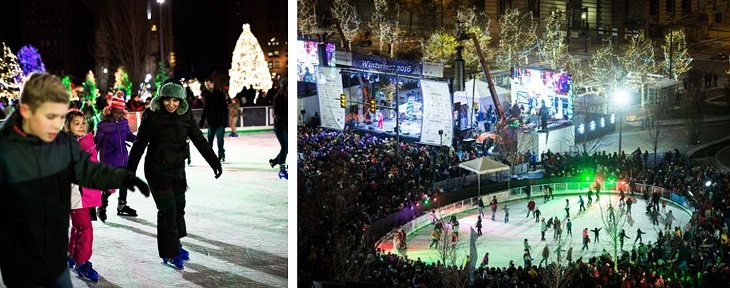 Ice skaters enjoy a nighttime skate at Cleveland Public Square