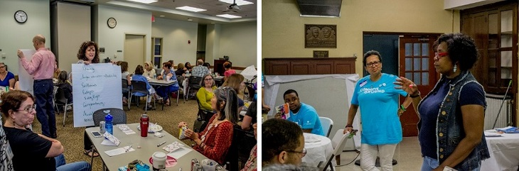 Two images of Common Ground Cleveland 2018 conversations