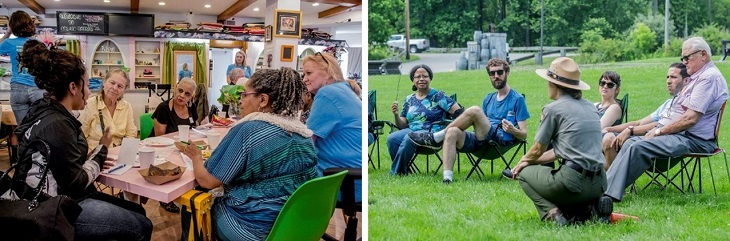 Two images of Common Ground 2018 conversations