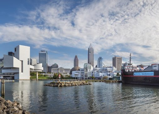 View of Cleveland skyline from lake erie shows rock hall and science center