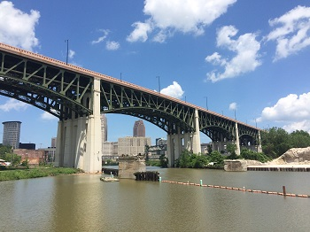 View of Cuyahoga River under bridge