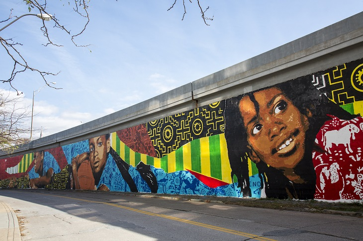 Photo of colorful mural by Ananda Nahu