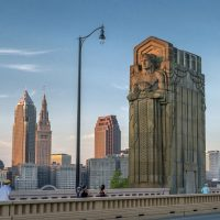 A view of the Cleveland skyline from Carnegie Bridge