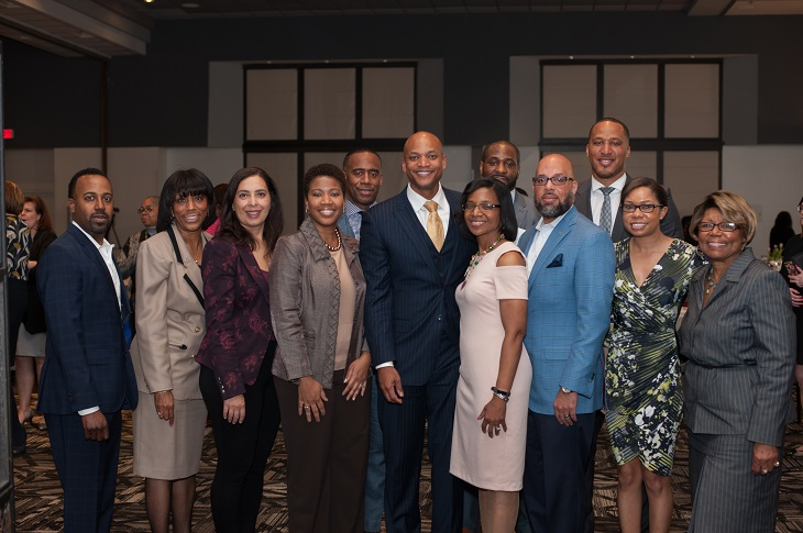 Members of the Cleveland Foundation AFrican American Philanthropy Committee pose with Wes Moore