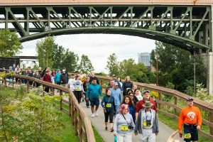 Participants walk along the trail at the Cleveland MEtroparks and Cleveland Foundation Centennial Trail 5K