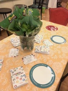 Place settings on Common Ground table are shown