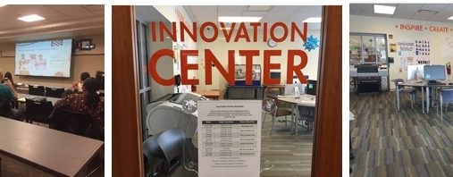 Three images show views of the Innovation Centers at the library