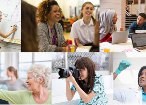 Collage of images of women doing various activities