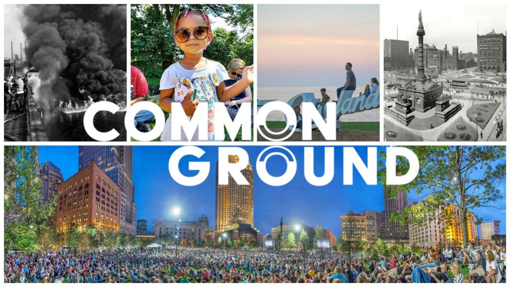 Composite of images from Common Ground with logo