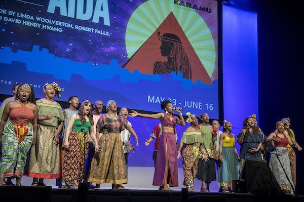 "Cast members from the Karamu House production of Elton John and Tim Rice's ""Aida"" perform ""The Gods Love Nubia"" at the annual meeting."