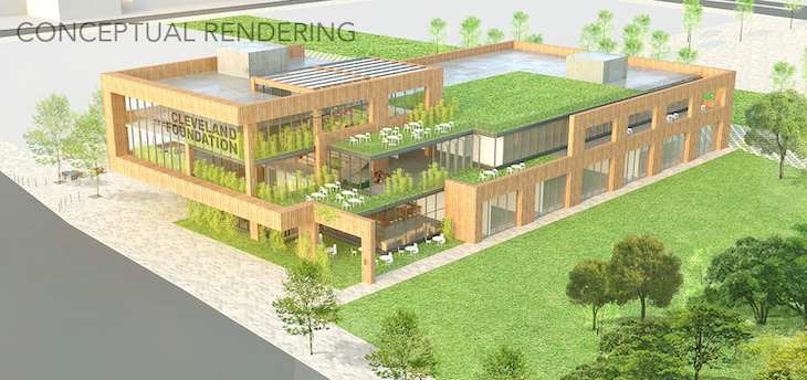 conceptual rendering of proposed new Cleveland Foundation headquarters in MidTown