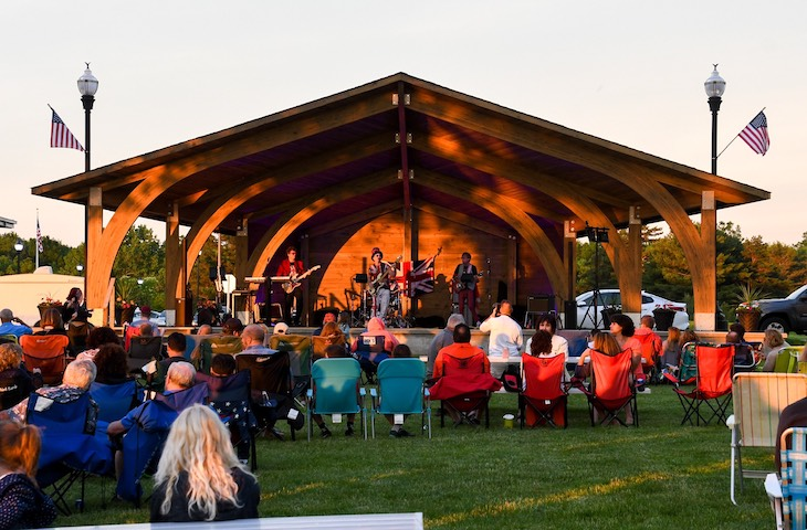Image of Broadview Heights community amphitheater with concert