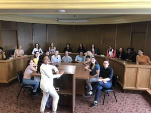 Summer interns gathered in city council chamber
