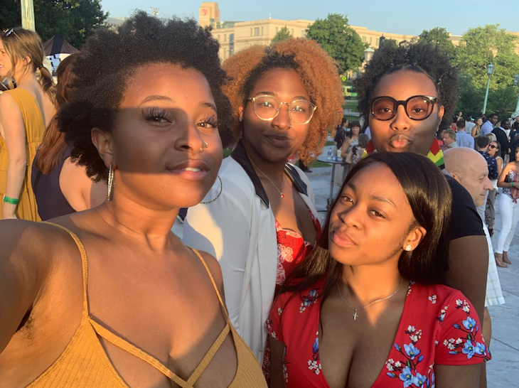 A group of summer interns at the art museum MIX event