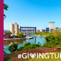 Cleveland Skyline with Giving Tuesday Graphics
