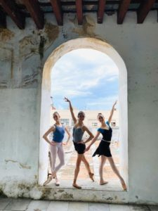 Photo of dancers Kelly Korfhage, Kate Webb and Emmie Dietz at the ProDanza Studios