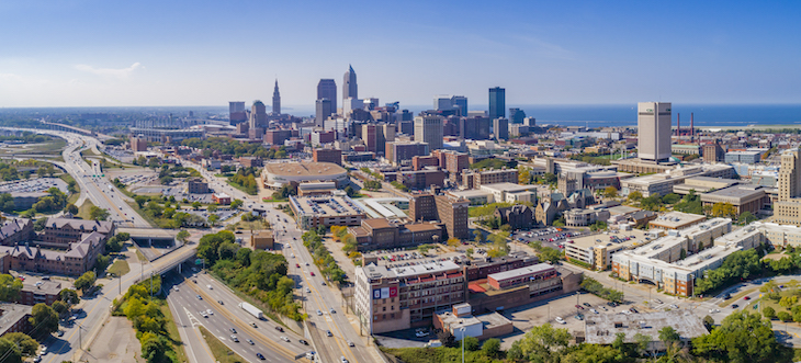 Aerial photos of Cleveland skyline
