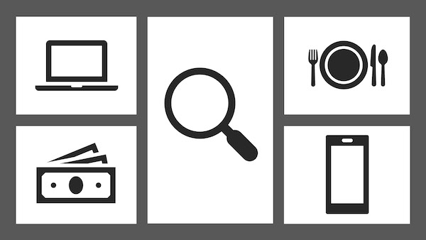 A graphic showing computer, money, magnifying glass, place setting and phone icons