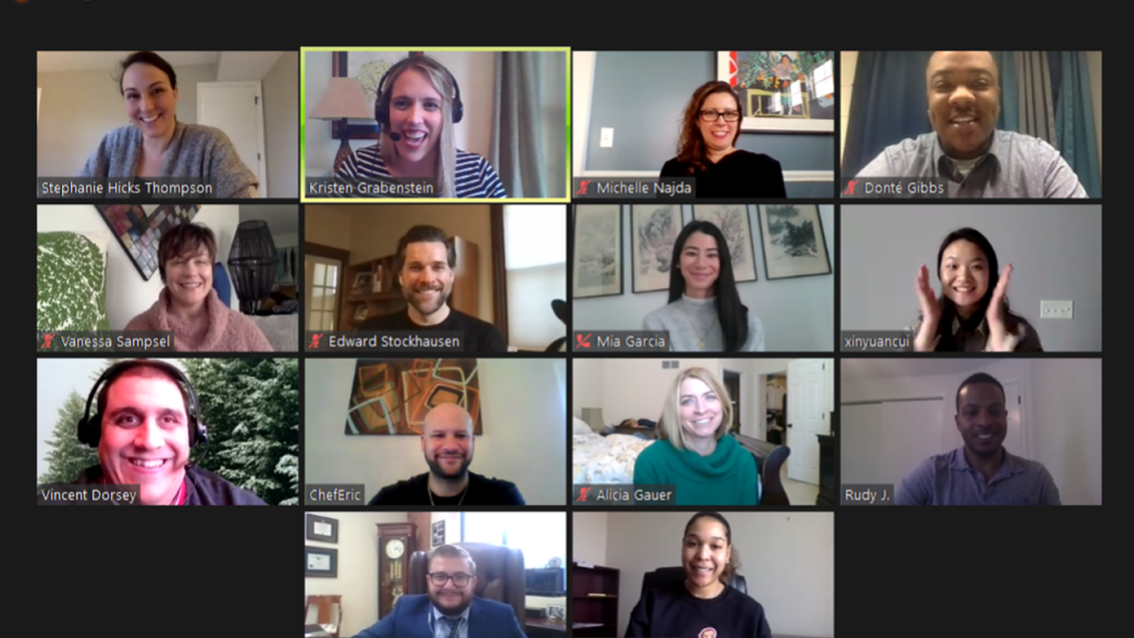 A zoom screenshot of the 2021 Foundations for Philanthropy cohort members